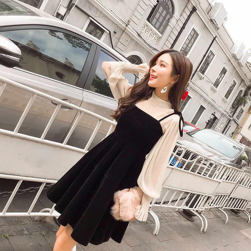 Tcyeek femmes mode deux pièces robes ensemble 2019 printemps noir robe doux rouge populaire automne vêtements bureau dames tissu LWL192