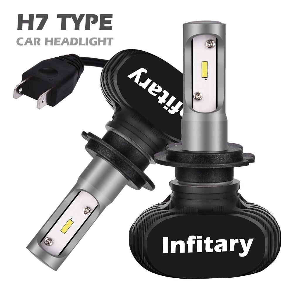 Infitary 2 предмета автомобилей головной светильник S1 H7 светодиодный H4 H1 H3 H8 H11 H13 H27 880 9004 9005 9006 9007 50 Вт 8000LM авто фары 6500 к светильник лампочка