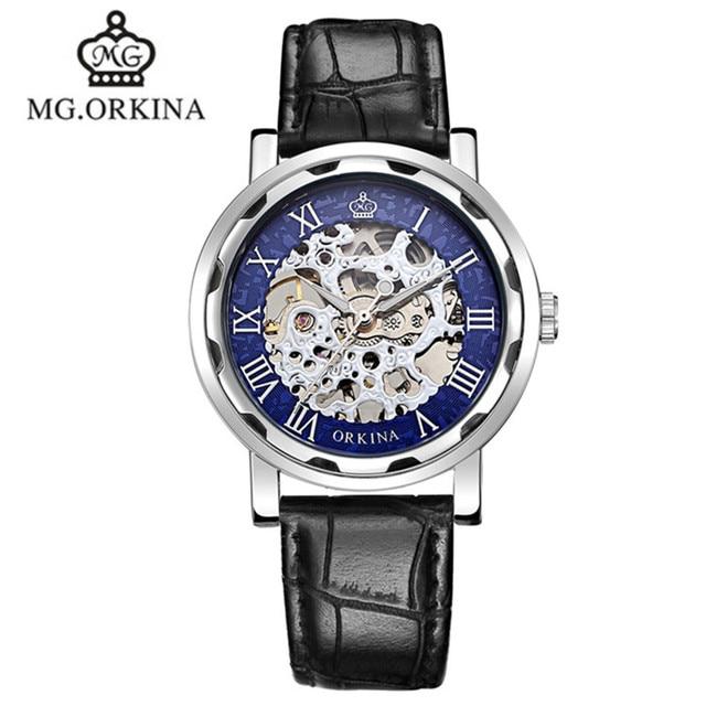 e382e14c1348 2016 Superficie Orkina Skeleton Relojes Mecánicos Correa de Cuero Hueco  Analógica Hardlex Reloj de Hombre de