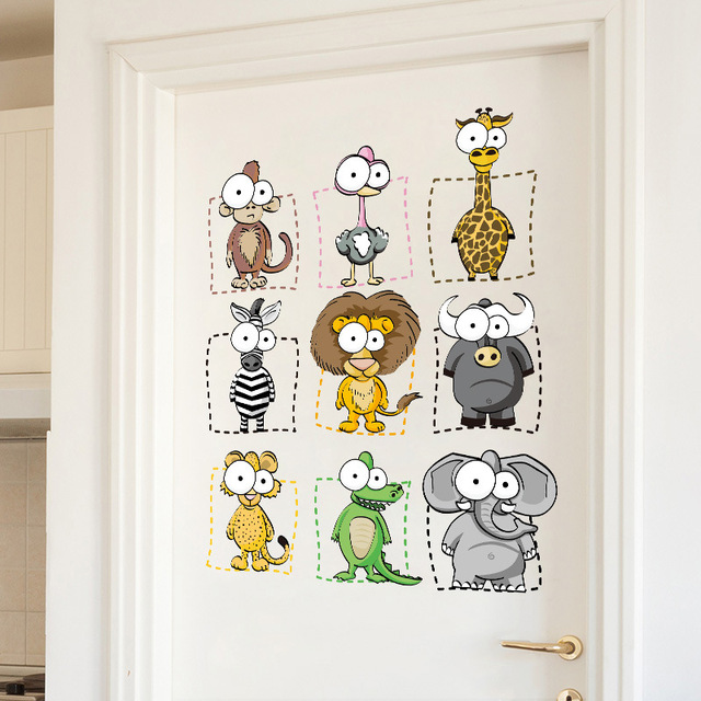Phim hoạt hình Dán Tường Elephant Khỉ Lion Đáng Yêu đôi mắt to Động Vật Trẻ Em Phòng Tường Sticker Door Trang Trí cho Trẻ Em Phòng