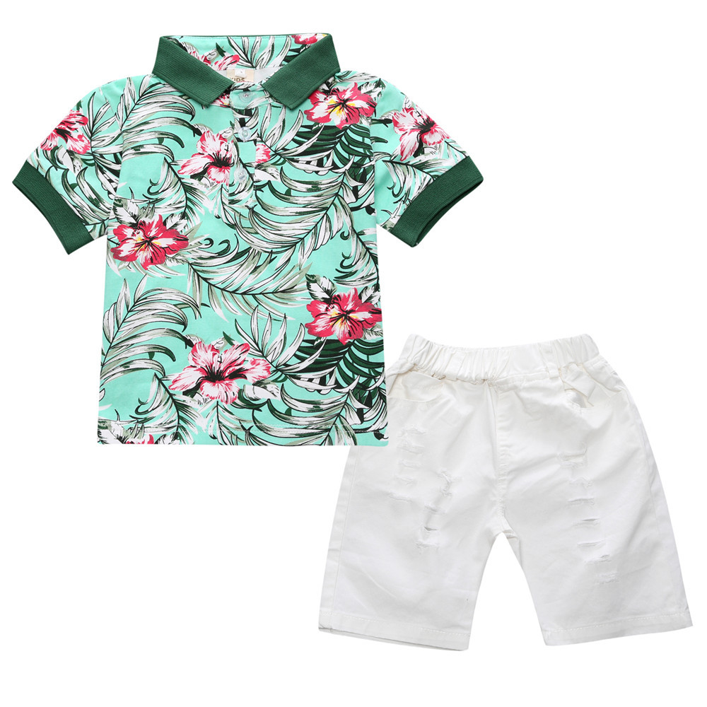 2017 New Summer Baby Boys Clothes 2pcs Floral Shirt and Shorts Set Infant Kids Children Clothing Casual Brand Bebes Outfits