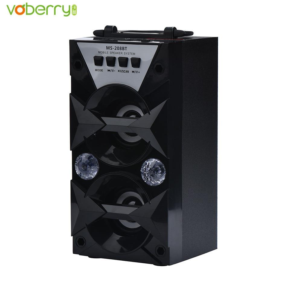 VOBERRY MS-208BT Loudspeaker Portable High Power Output FM Radio Wireless Bluetooth Speaker Support FM LED Shinning MP3 Speakers