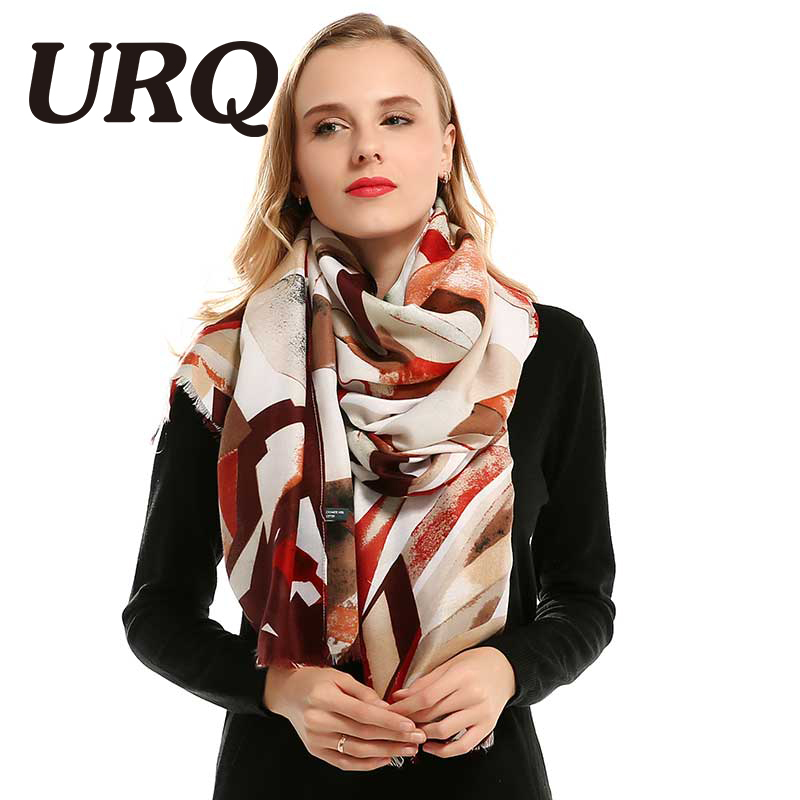 [URQ] Long Viscose Shawl Spring Autumn Women Tassel Hijab Scarf Geometric Printed Soft Scarf Female V8016
