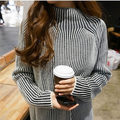 Womens Sweaters Fashion 2016 Autumn Winter Korean Casual Half Turtleneck Striped Knitted Sweater Blouse pull femme sueter 2125