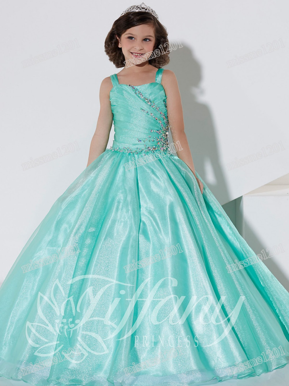 Beauty Ice Green Straps Beads Flower Girl Dresses Girls\' Pageant ...