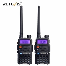 купить 2xWalkie Talkie RETEVIS RT5R Portable Ham Radio 5W 128CH UHF/VHF Interphone DTMF VOX Dual Band+Programming Cable Moscow Shipping дешево