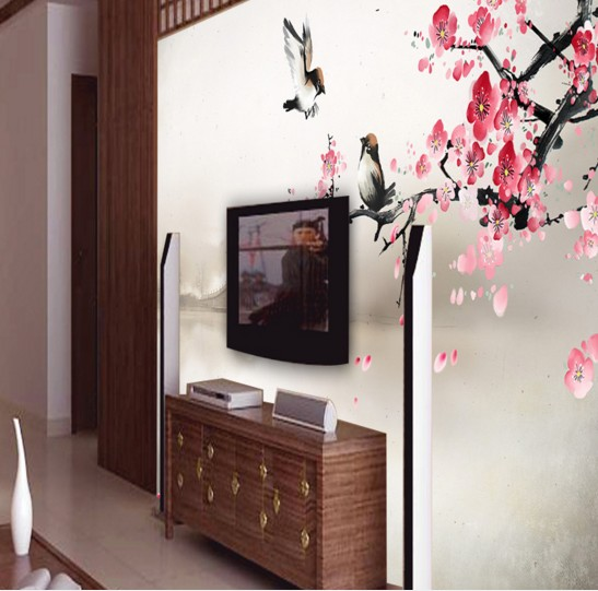 Custom Environmental 3D stereoscopic large mural living room sofa TV background wallpaper wall paper Nature Plum Chinese style 3d photo wallpaper 3d large mural tv sofa background wall bedroom living room photography wood nature landscape wallpaper mural