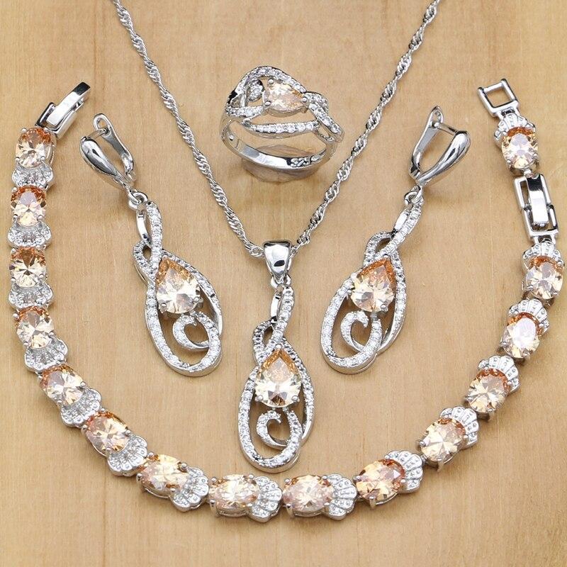 925 Sterling Silber Braut Schmuck Sets Champagne Zirkon Weiß Kristall Für Frauen Ohrringe/anhänger/ringe/armband/ Halskette Set