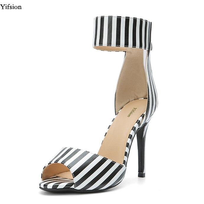 Olomm Novas Mulheres Tornozelo-Envoltório Sandálias Finas Sandálias De Salto Alto Peep Toe Black & White Tarja Sapatos Casuais Mulheres NÓS Plus Size 4-15