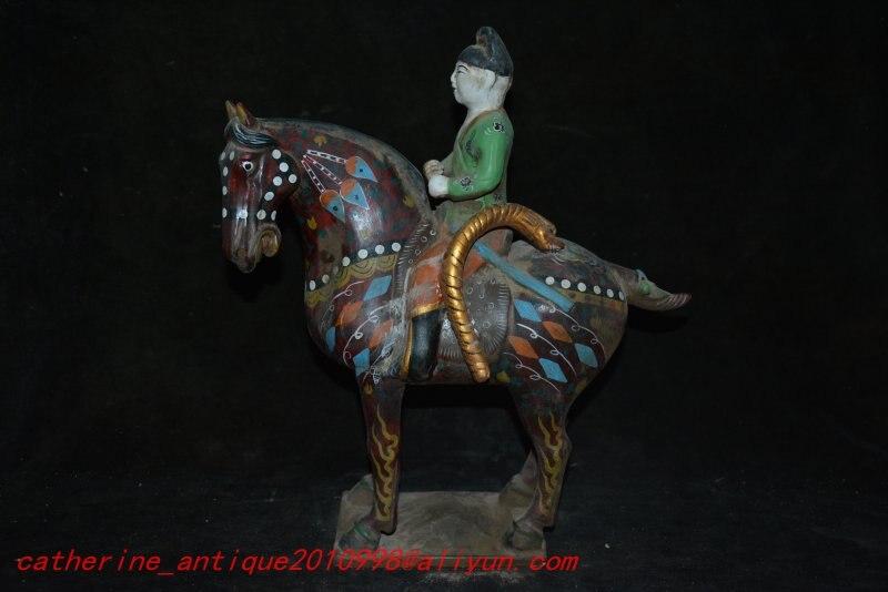 Античный Тан Sancai Фарфоровая керамика статуя, резной культурой ремесла, украшение, коллекция и украшение, бесплатная доставка