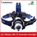 EE. UU. UE HP79 Cabeza Caliente luz lámpara Principal Del Cree XM-L T6 led 3000LM recargable Faros luces de la lámpara