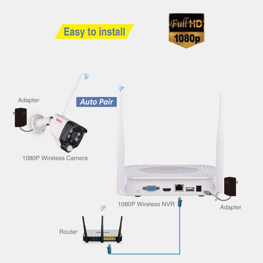 8CH 1080P 2MP IP كاميرا الصوت سجل الأمن اللاسلكي نظام الدائرة التلفزيونية المغلقة الرئيسية NVR كاميرا تلفزيونات الدوائر المغلقة طقم مراقبة الفيديو PIR الاستشعار Tonton