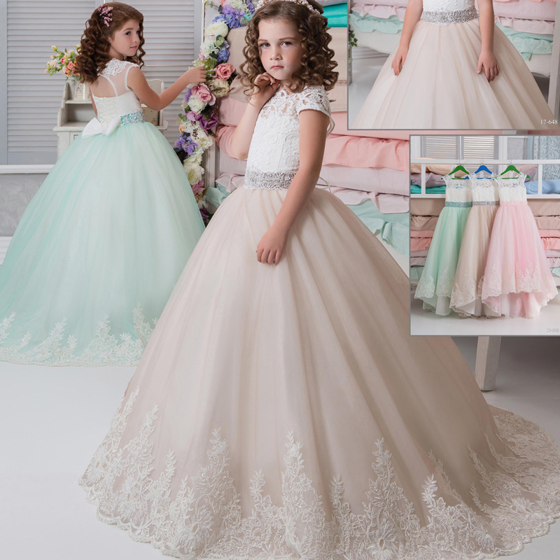 New Lace Applique Cap Sleeve Ball Gowns Flower Girls Holy First Communion Dress Open Back Birthday Dresses with Beading Sash buttoned closure back cut and sew cap sleeve top