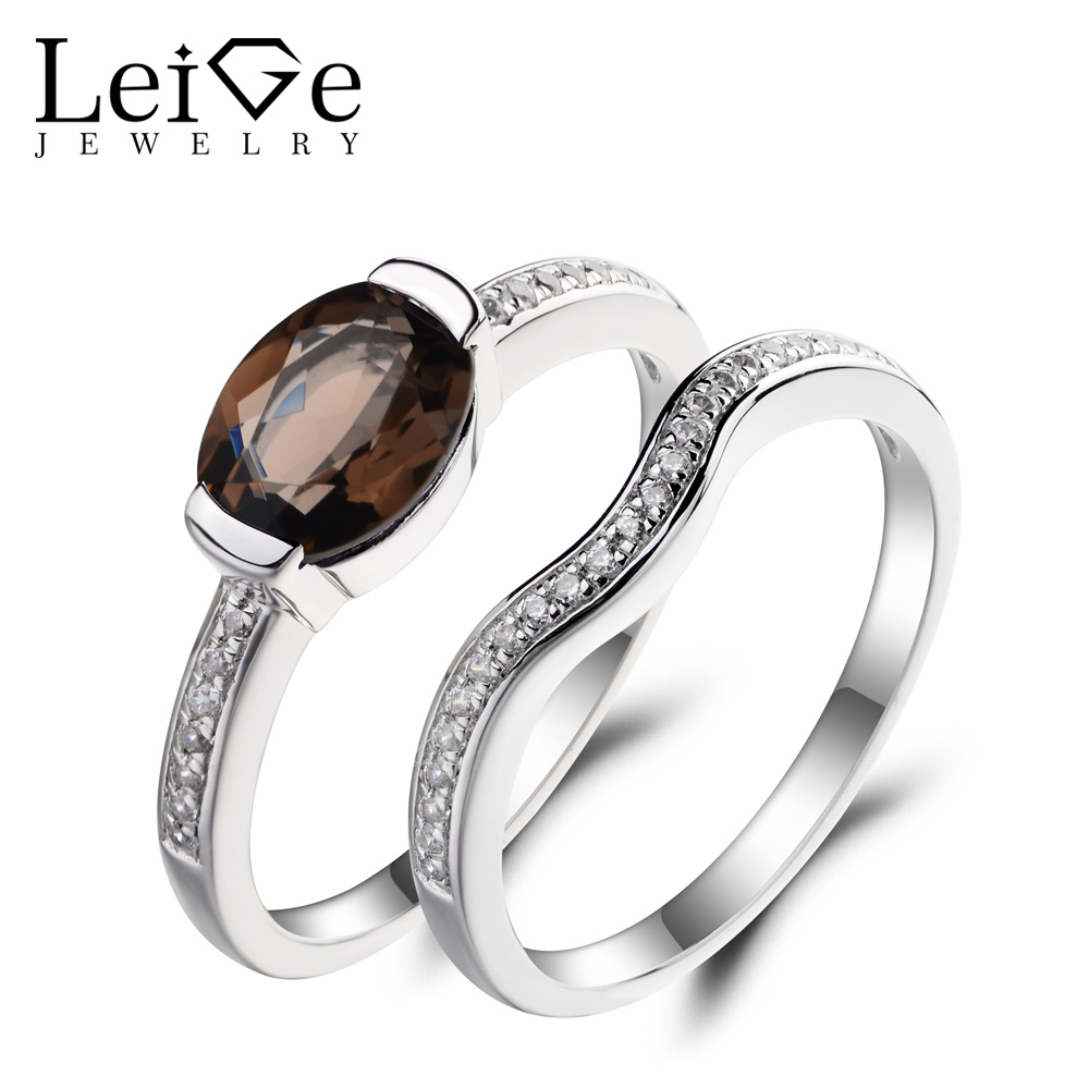 Leige Jewelry Cocktail Party Ring Natural Smoky Quartz Ring Oval Cut Brown Gemstone 925 Sterling Silver Bridal Sets for WomenLeige Jewelry Cocktail Party Ring Natural Smoky Quartz Ring Oval Cut Brown Gemstone 925 Sterling Silver Bridal Sets for Women
