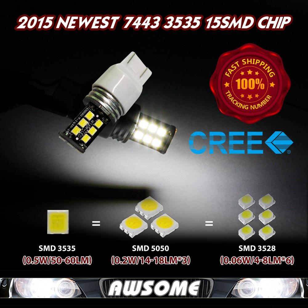 2x Super Bright High Power 15led 3535 SMD T20 7440 7443 w21/5w w21w Dual Filament led Car Brake Reverse Turn Light Bulb