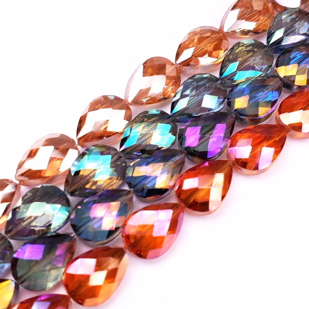 10Pcs/lot 13*18MM Plating Color Crystal Beads Teardrop, Loose Glass Beads For DIY Bracelet Jewelry Making Findings