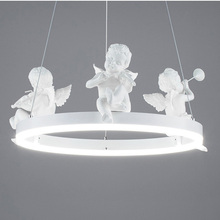 nordic resin angel pendant light creative art deco LED hanging lamp for children bedroom kitchen light fixture country style E27 diy american country creative iron pendant light led lamp iron metal hanging lamp nordic designer light art deco lighting abajur