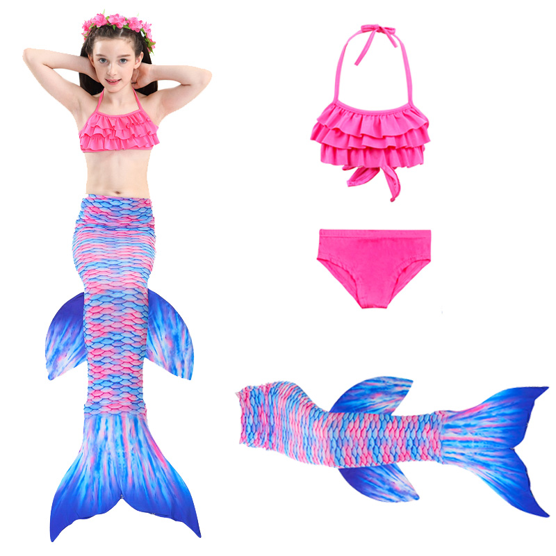 2019 New Girls Kids Mermaid Cosplay Costume Children Swimming Bikini Mermaid Tails Ariel Swimsuit Mermaid Tail
