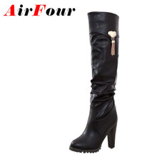 Airfour Black Brown White Boots Round Toe Fashion Knee-High Boots for Women New Hot Square Heel High Boots Winter Soft Leather