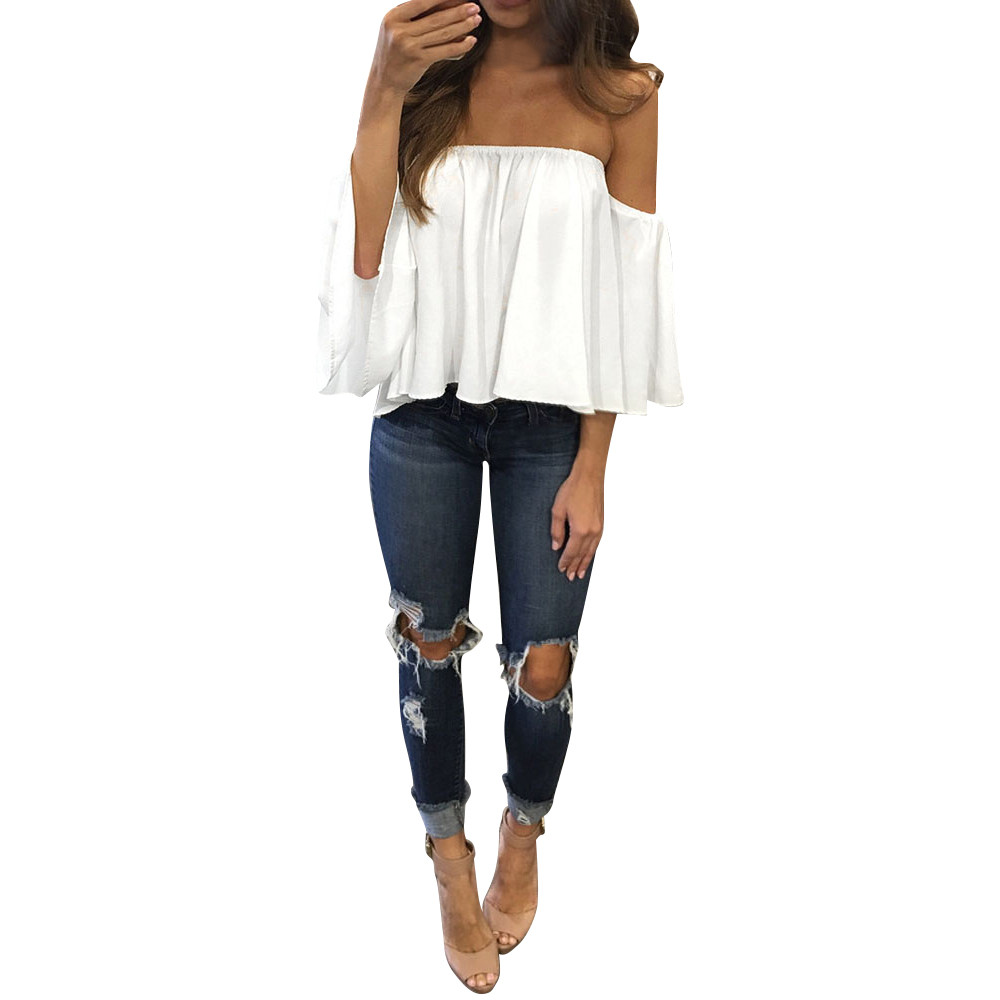Womail Female Long Sleeve Pullover Off Shoulder Casual Women Chiffon Blouse Summer Shirt 1.Apr.7