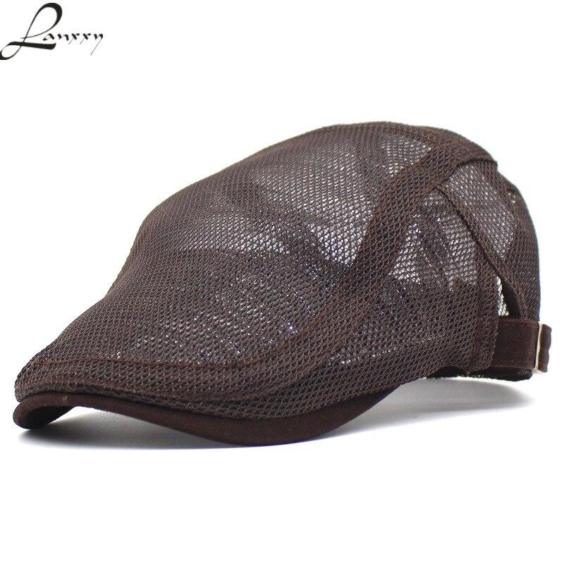 20844b6e41d Lanxxy 2018 New Summer Caps for Men Mesh Plaid Hat Women Casquette Falt Cap  Casual Gorras