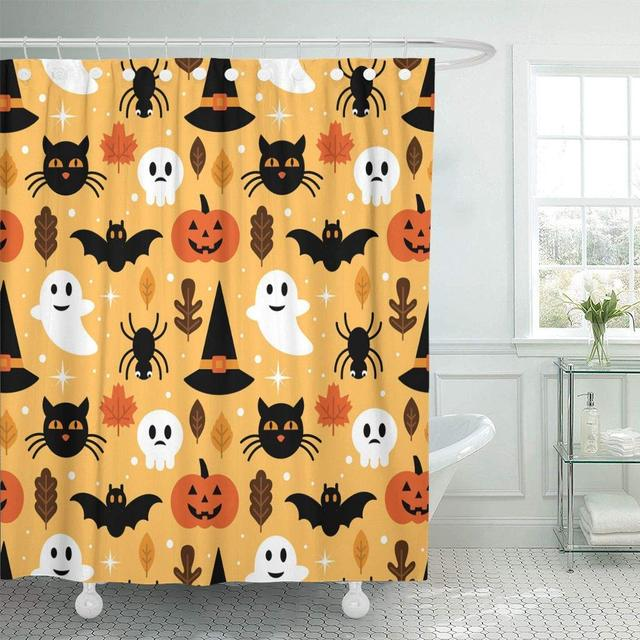 Shower Curtain Hooks Cute Halloween Design Ghost Skull Pumpkin Black Cat Bat Fall Cartoon Spider Decorative Bathroom