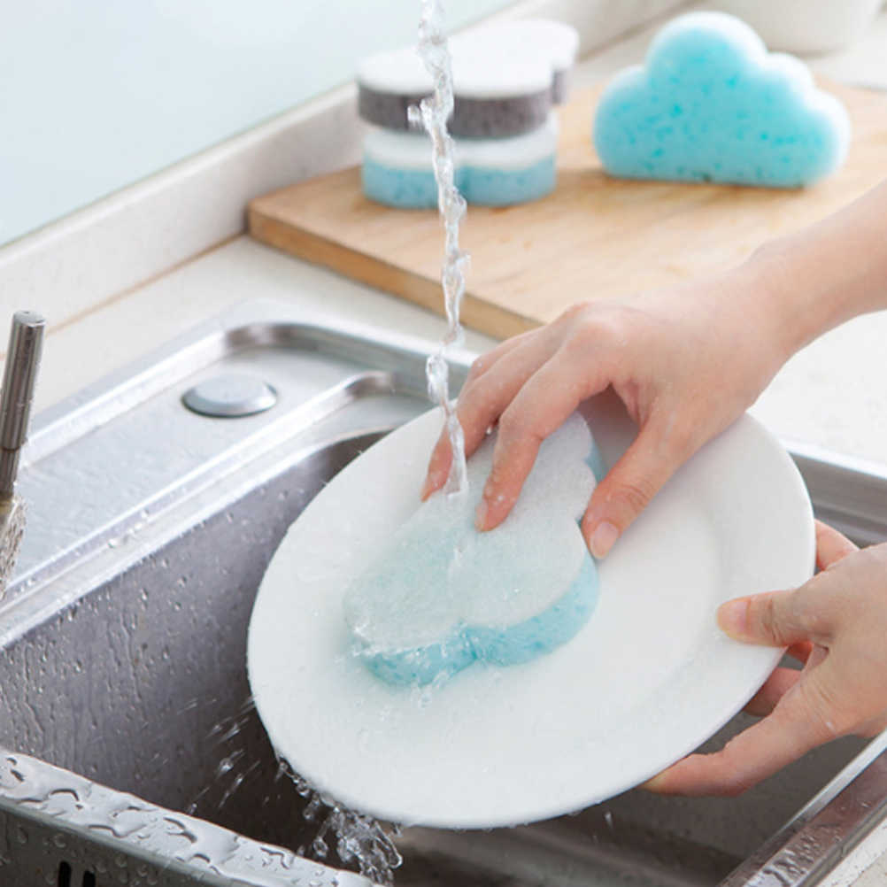 1 قطعة لطيف سحابة شكل الصحون الإسفنج المطبخ تنظيف سادة جهاز غسيل إسفنجي تجوب سادة للمنزل لوازم