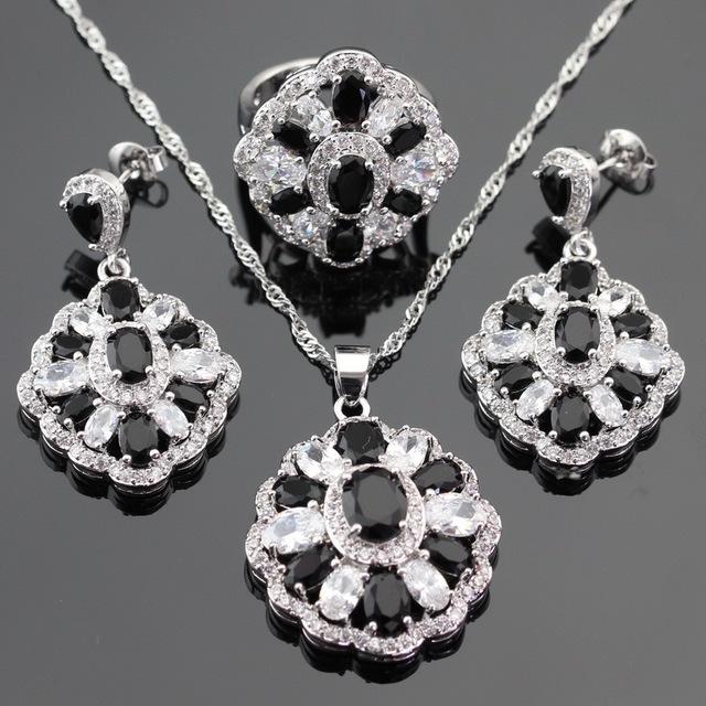 Conjuntos de Jóias de Cor prata Para As Mulheres de Natal Black Safira Criado CZ Branco Brincos/Anel/Pendente/Pendente da Colar Livre Caixa de presente