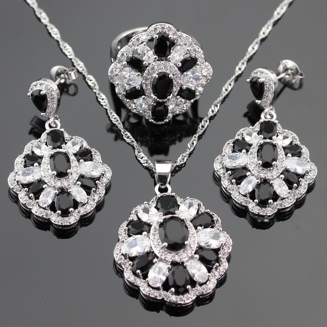 Silver Color Jewelry Sets For Women Christmas Black Created Sapphire White CZ Earrings/Ring/Pendant /Necklace Free Gift Box