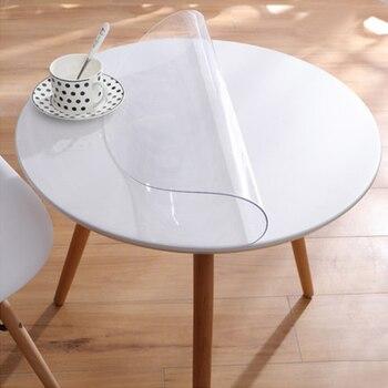 Mantel de PVC nublado transparente impermeable mantel de mesa redonda  patrón de cocina cubierta de mesa de aceite paño suave de vidrio para mesa  de ...