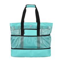 2019 Large Capacity Mesh Canvas Beach Tote Bag Multifunctional Zippered Waterproof Insulation Picnic Casual For Women