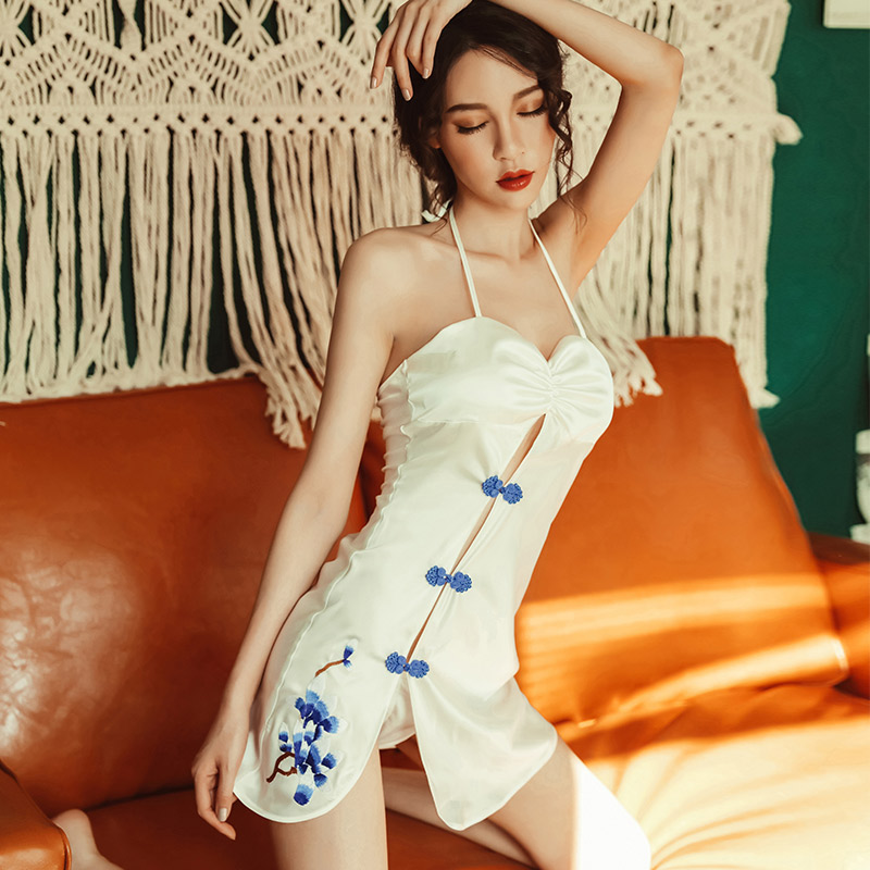 Yhotmeng sexy woman Chinese style sexy button halter straps hanging neck cheongsam high fork bag hip nightdress pajamas suit in Robe Gown Sets from Underwear Sleepwears