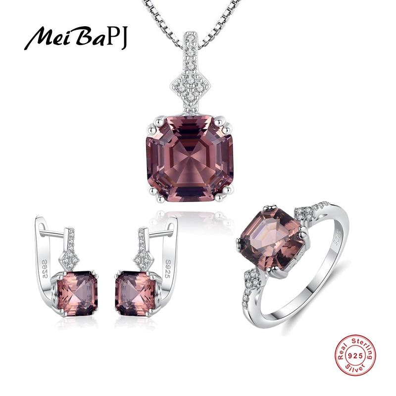 MeiBaPJ New Rainbow Stone 3 Suit Jewelry Set Real 925 Sterling Silver Pendant Earrings Ring Fine Charm Jewelry For Women