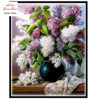 Needlework,DIY DMC 14CT unprinted Cross stitch Embroidery,Lilac Flowers Counted White canvas Cross Stitching handmade
