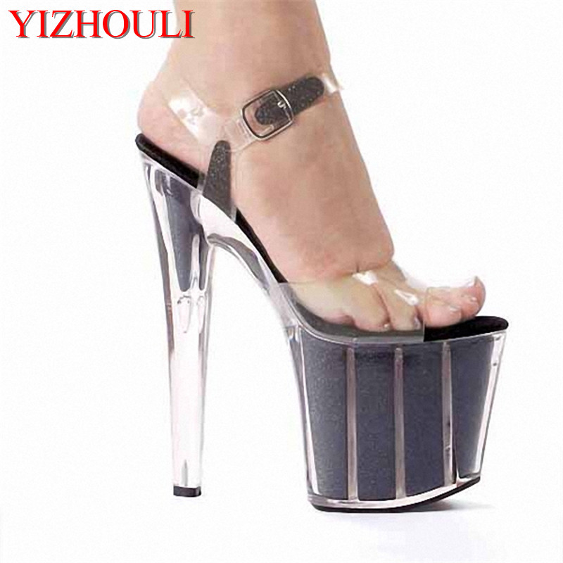 Must Buy Item! 20cm Sexy Super High Heel Crystal Sandals, Platforms Performance / Star / Model Shoes, Wedding Shoes