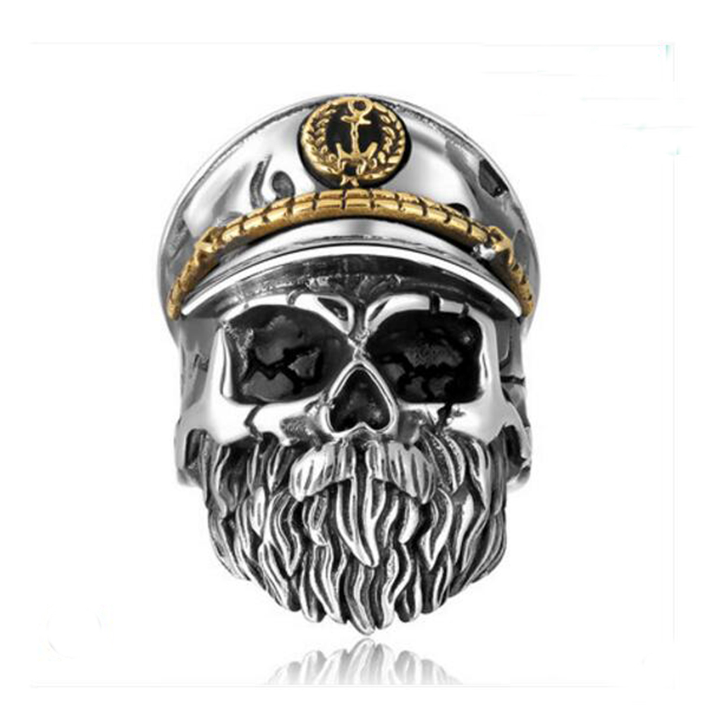 Old skull and skull Captatain Retro S925 Rings Adjustable Size Classic Solid Thai Ring For Men's Jewelry