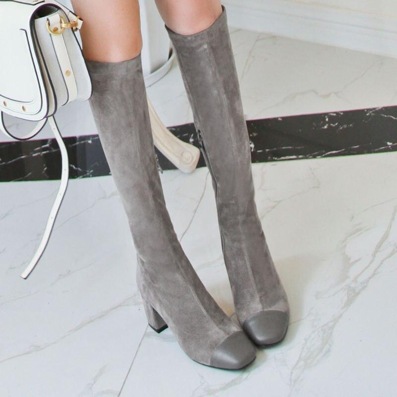 Ayakk.'ten Diz Hizası Çizmeler'de Yeni hakiki deri kadın diz yüksek çizmeler 6cm yüksek topuklu çizmeler bayan resmi elbise ayakkabıları patchwork kadın çizmeler kadın büyük boy 41 42'da  Grup 2