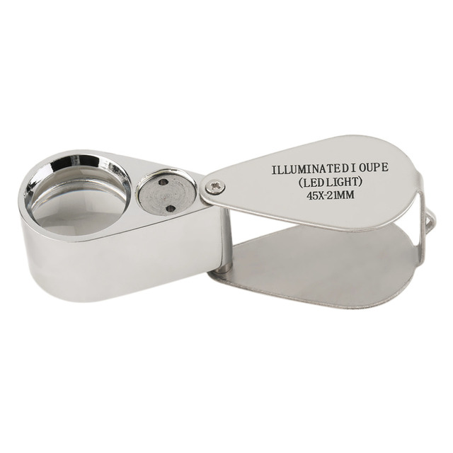 Magnifier Magnifying Glass Rotate With LED Light Worldwide Store45x21mm Jewellers Eye Loupe