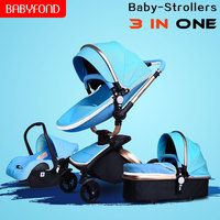 Brand baby strollers 3 in 1 EU high quality safety 2 in 1 baby strollers with car seat leather aluminium alloy frame brand pram