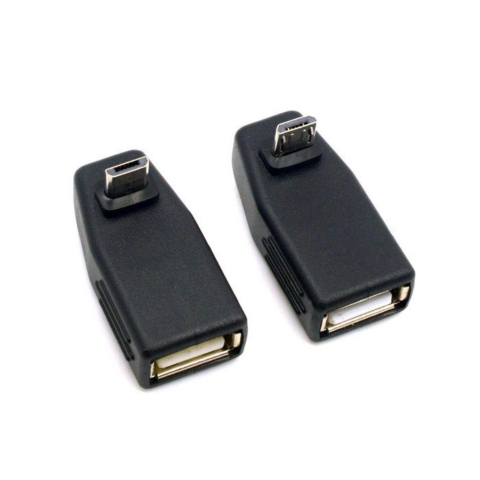 2pcs 90 Degree Up & Down Right Angled Micro USB Type B to USB Female OTG Adapter Connector Adaptor for Tablet купить