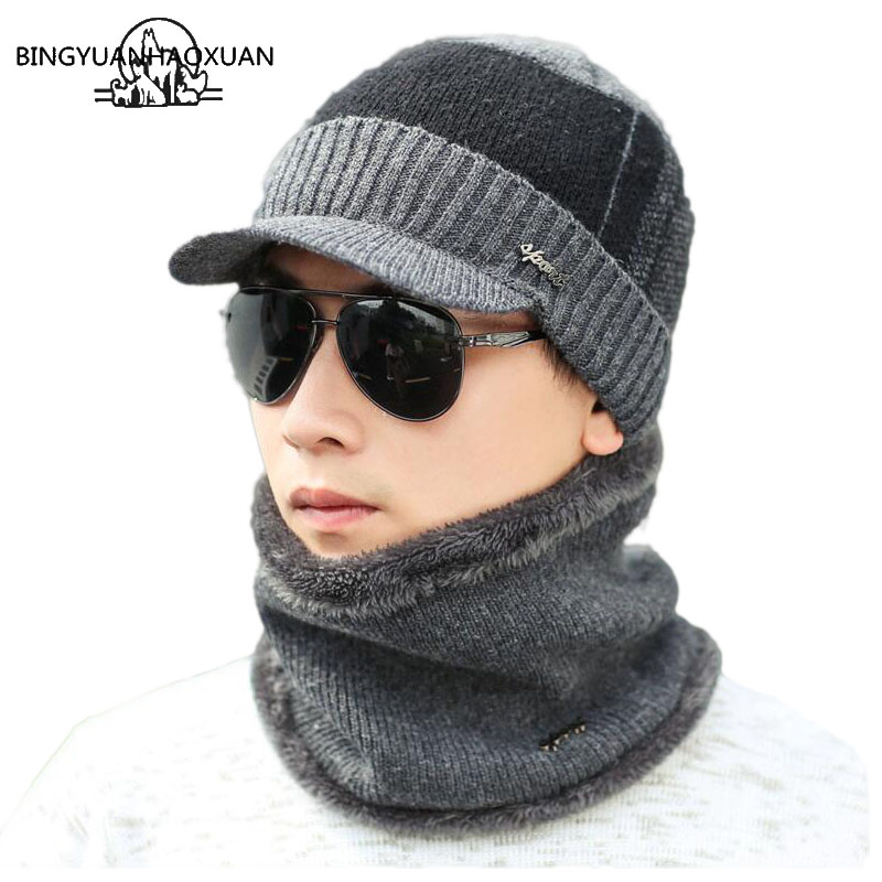 BINGYUANHAOXUAN Winter Hats Skullies Beanies Knitted Hat Beanies For Men Women Wool Scarf Caps Balaclava Mask Gorras Bonnet
