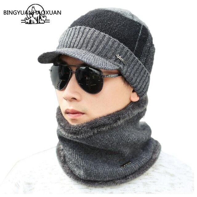 Gorro-Cachecol Masculino Tricotado p/ o Inverno BINGYUANHAOXUAN