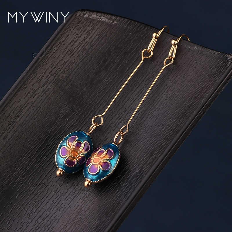 MYWINY ใหม่แฟชั่นเครื่องประดับ Cloisonne Bean ต่างหูผู้หญิง, ลมจีนเคลือบต่างหูยาว