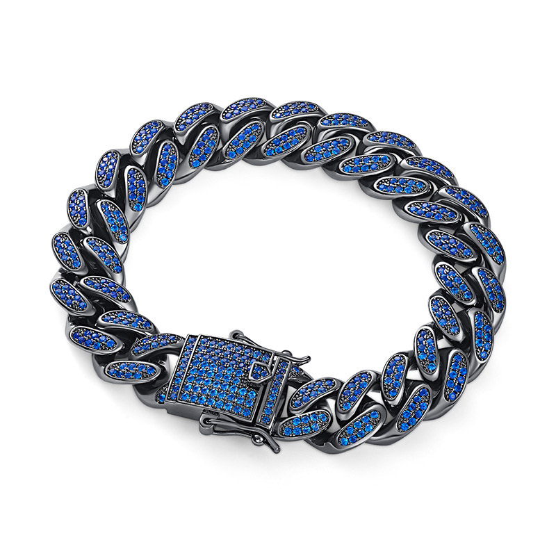Hip Hop Black Blue CZ Stone Paved Bling Iced Out Cuban Miami Chain Bangle Bracelets for
