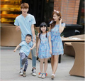 Parent-child outfit summer wear the new 2016 ice cream blue color  child T-shirt  dress printing  family pack