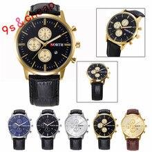 Fashion Calendar Men Quartz Wrist Watch Leather Band Watch #3349  Brand New Luxury High Quality Free Shipping