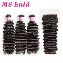 MS Lula Hair Peruvian Deep Wave 3 Bundles With Lace Closure Human Hair Bundles Free Part Swiss Lace Remy Hair Free shipping