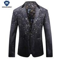 2017 Men Blazer Slim Fit Print Starry Sky Black Suit Winter Men Jacket Floral Blazer Masculino