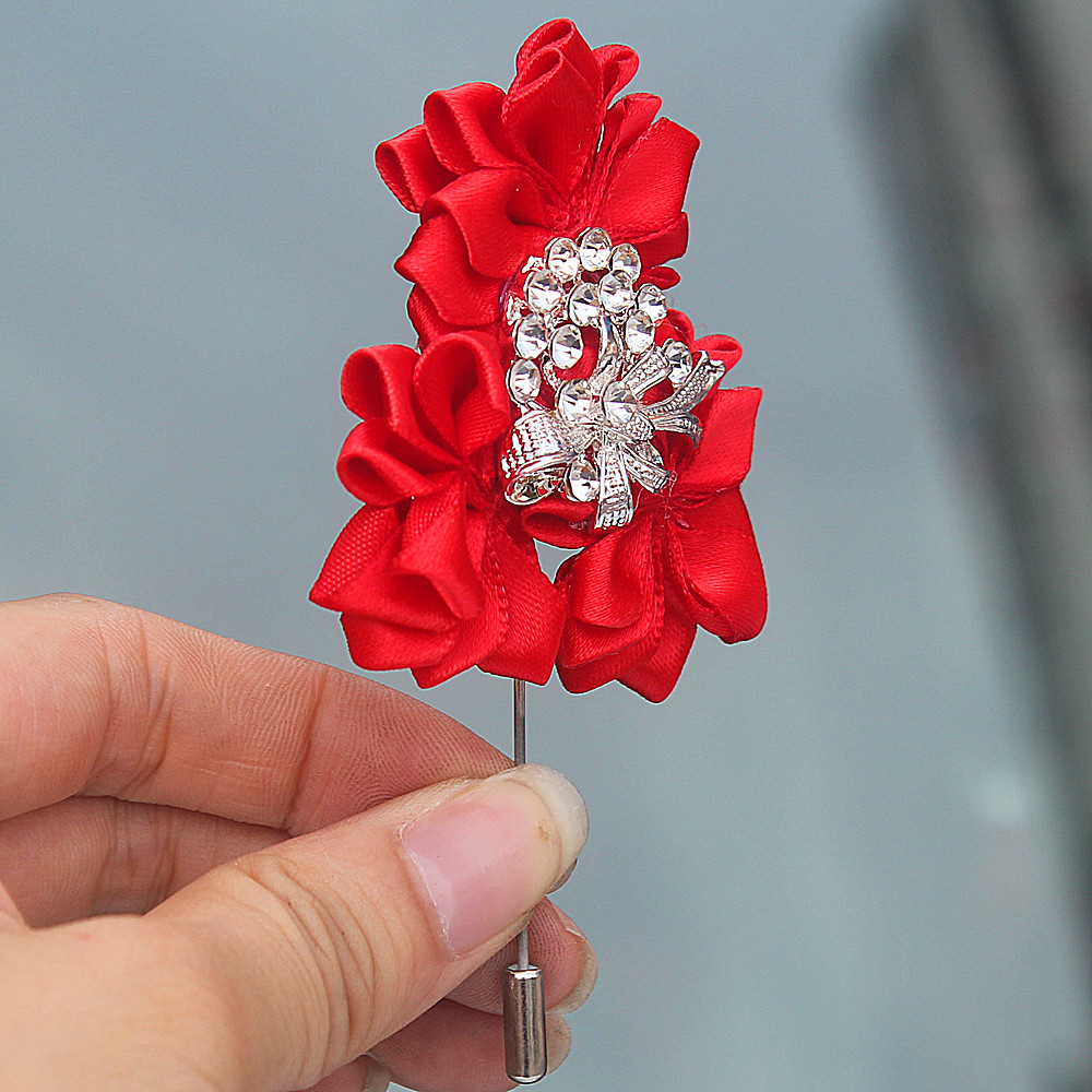 Wholesale Red Color Satin Flowers Crystal Wedding Groom Boutonniere ...