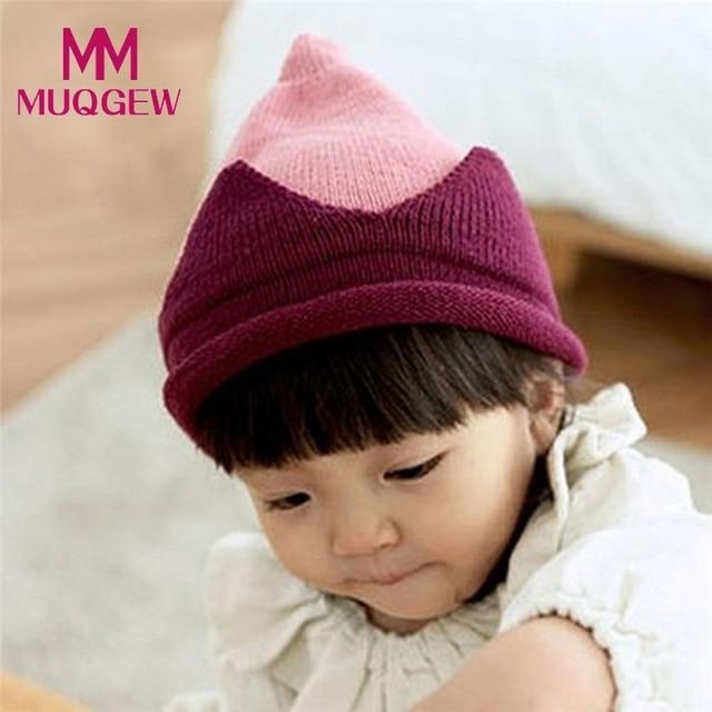 2bf47d3636c high quality Winter Autumn Cute Newborn Baby Kids Girls Boys Girls Nipple  Crown Hat Warm Knitted Baby Cap hats for girls